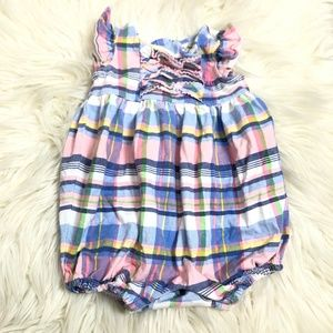 Ralph Lauren plaid one piece outfit 3 mo